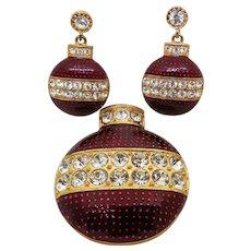 Festive Red Enamel & Rhinestone Christmas Ornament Brooch & Earring Set Signed Eisenberg Ice