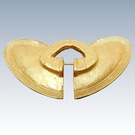 Vintage 24K GP Brooch Modeled After a Pre Columbian Nose Ring