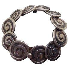 Vintage Los Castillo Mexican Sterling Silver Swirls Bracelet #317A  - 86.3 Grams
