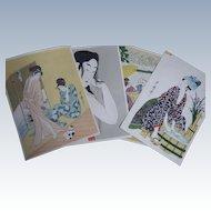 Collection of Japanese Ukiyo-E Floating World Prints by Utamaro