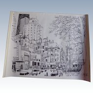 Vintage Rush Street Chicago Print Signed & Numered Rush St From Cafe de Melvin