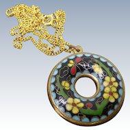 Older Vintage Chinese Cloisonne Doughnut Pendant Necklace Enamel Flowers Double