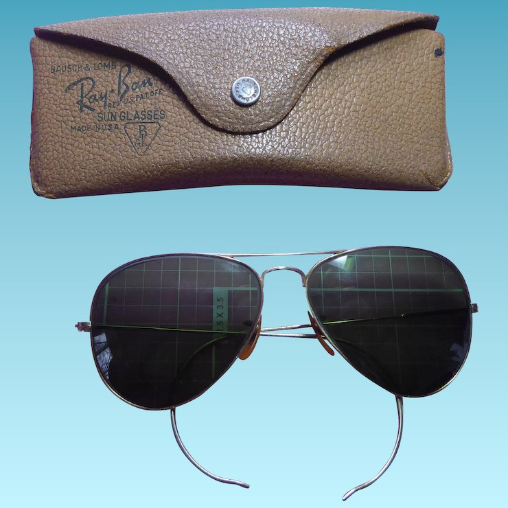 Ray Ban Sunglasses WWII Era Vintage Green Glass Aviator in Original   The  Lantern and The Shovel   Ruby Lane 535bad158e1e