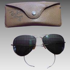Ray Ban Sunglasses WWII Era Vintage Green Glass Aviator in Original Case