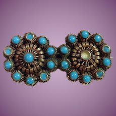 Signed MH Marius Hammer Sterling Silver Etruscan Revival Brooch - Blue Glass  Marked 925S AS Found