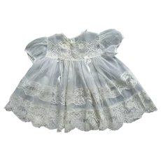 Lovely Vintage Sheer Lacy Baby Dress For Christening Or Just Because
