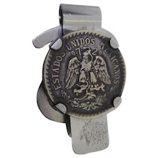 Vintage Dollar Sign Shaped Money Clip With 1922 720 Silver Eagle Mexican Peso