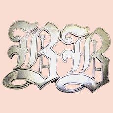 Wonderful Antique Sterling Silver Initial Buckle - BB In Fancy Script