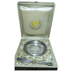 Vintage Ercuis Butter Set In Original Presentation Box of Paris Jeweler