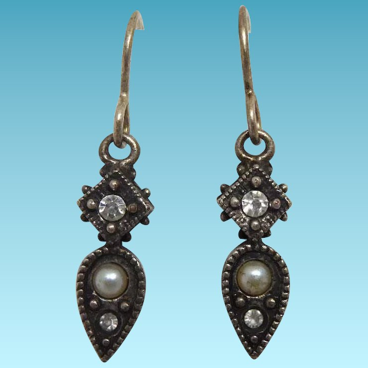 Vintage Signed Patricia Locke Earrings Dangle Drops With Faux Pearls