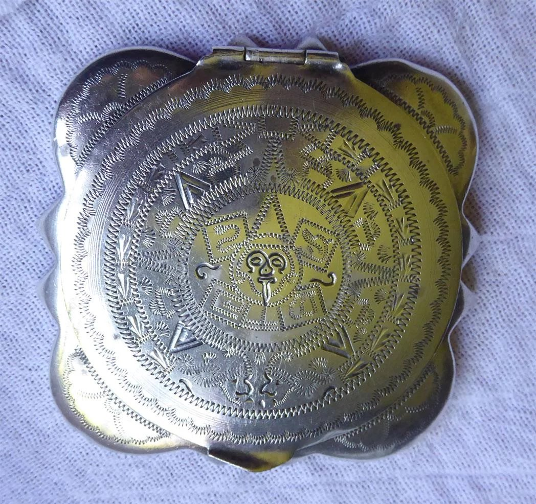Vintage Mexican Sterling Silver Compact With Mirror