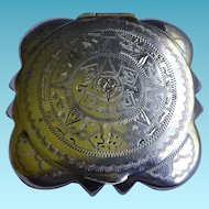 Vintage Mexican Sterling Silver Compact With Mirror & Aztec Calendar Design