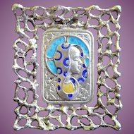 Small Vintage Sterling Silver & Enamel Icon Picture of Mary Italy Signed 59 AR