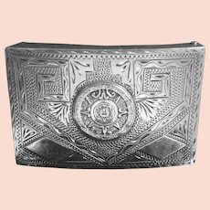 Large Vintage Mexican Sterling Silver Belt Buckle Aztec Calendar Ethnic Design Signed JCL