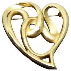 Beautiful Vintage Signed Erwin Pearl Vintage Golden Heart Brooch