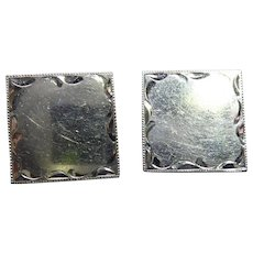 Vintage Sterling Silver Cufflinks - Square Shaped, Engravable! Signed LaMode - Wedding or Other Special Occasion!