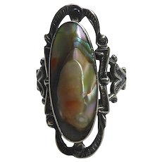 Antique Victorian Blister Pearl Ring In Elaborate Sterling Silver Setting Size 6