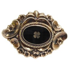 Beautiful & Dimensional Victorian Brooch With 4 Leaf Clover In Black Enamel - Signed ER800Dbl