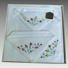 Gorgeous Boxed Set of Orlana Handkerchiefs - 3 Floral Hankies Unused In Their Original Box