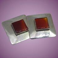 "Sterling Silver & Orange Stone Native American Navajo Earrings Signed J NEZ or Nez - 1"" Square!"
