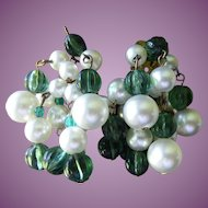 Vintage Signed Marvella Molded Glass and Faux Pearl Cluster Earrings