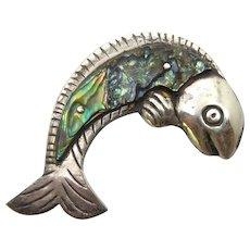 Iconic Vintage Mexican Sterling & Abalone Shell Fish Brooch William Spratling Design Signed Estella Popowski