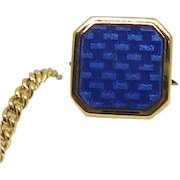 Vintage Blue Guilloche Enamel Tie Tack Tie Pin With Button Safety Chain