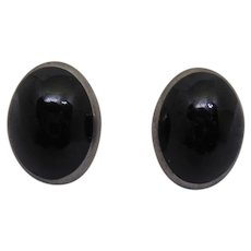 Vintage Taxco Mexican Sterling Silver Clip On Earrings Signed TF-26 Black Enamel