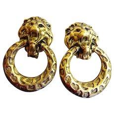 Vintage Signed Don Lin Lion Head Door Knocker Earrings - Clip Ons Circa 1980