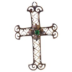 10K Gold Antique Cross Pendant With Heart Patterned Filigree & Green Glass Center