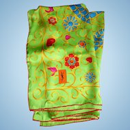 """Fabulous Signed YSL Italian Silk Scarf With Snake Or Serpent Design - Size 34"""" x 34"""""""