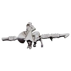Mexican Sterling Silver Bullfight Brooch With Bull and Matador on Banderilla