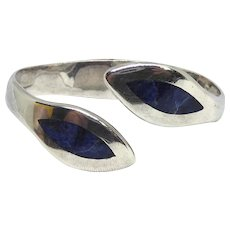 Beautiful Taxco Mexican Sterling Silver & Sodalite Hinged Bypass Bracelet -