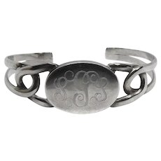 Sterling Silver Bracelet - Vintage Mexican Silver Initial Cuff Bracelet - Initial G