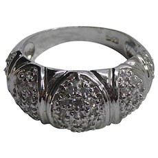 Vintage Sterling Silver Ring Marked 925 With Clear White Sapphire Stones