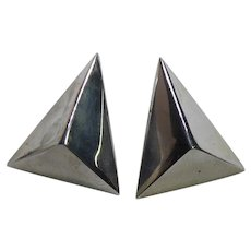 Fabulous Native American Dimensional Triangle Sterling Silver Earrings Signed Elwood Reynolds
