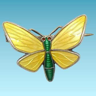 Older Vintage Einar Modahl Norway Sterling Silver & Yellow Enamel Butterfly Pin With C Clasp