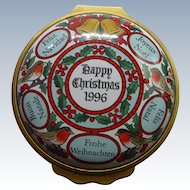 Very Clean 1996 Halcyon Days Enamel Annual Christmas Box - Happy Christmas In Several Languages