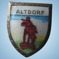 Vintage Enamel Travel Shield Pin - Altdorf Switzerland William Tell Monument - Signed Wappen Rue Heubach