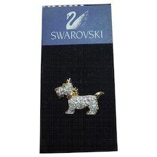 Swarovski Crystal Scottie Dog Lapel Pin On Original Card