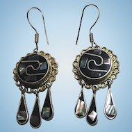 Vintage Signed Mexico Dangle Earrings With Black Enamel & Inlaid Shell