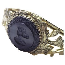 Signed Whiting & Davis Black Intaglio Cameo Goldtone Bracelet - Hinged Bangle With Safety Chain