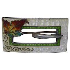 Beautiful Sterling Silver & Guilloche Enamel Buckle Brooch With Maple Leaf  - Antique Edwardian Era