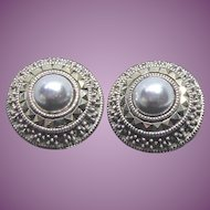 Fabulous Vintage Sterling Silver Signed Judith Jack Earrings Marcasite & Gray Faux Pearl