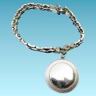 Vintage Script Signed Coro Charm Bracelet With Huge Round Charm
