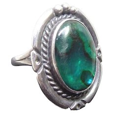 Striking Native American Navajo Ring - Signed Nakai - Sterling Silver With Blue Green Ammolite Stone