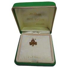Lucky Three Leaf Clover Irish Pendant In Original Sol D'Or Ireland Box - 9K Gold