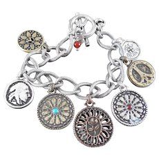 Lucky Brand Charm Bracelet With Peace Sign, Flower and Wheel Charms
