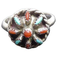 Native American Zuni Ring Signed JHK -  Cluster Needlepoint Ring With Turquoise & Coral
