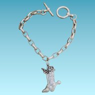 Charm Bracelet With Cowboy Cowgirl Boot Rockabilly Charm - Unmarked Silver